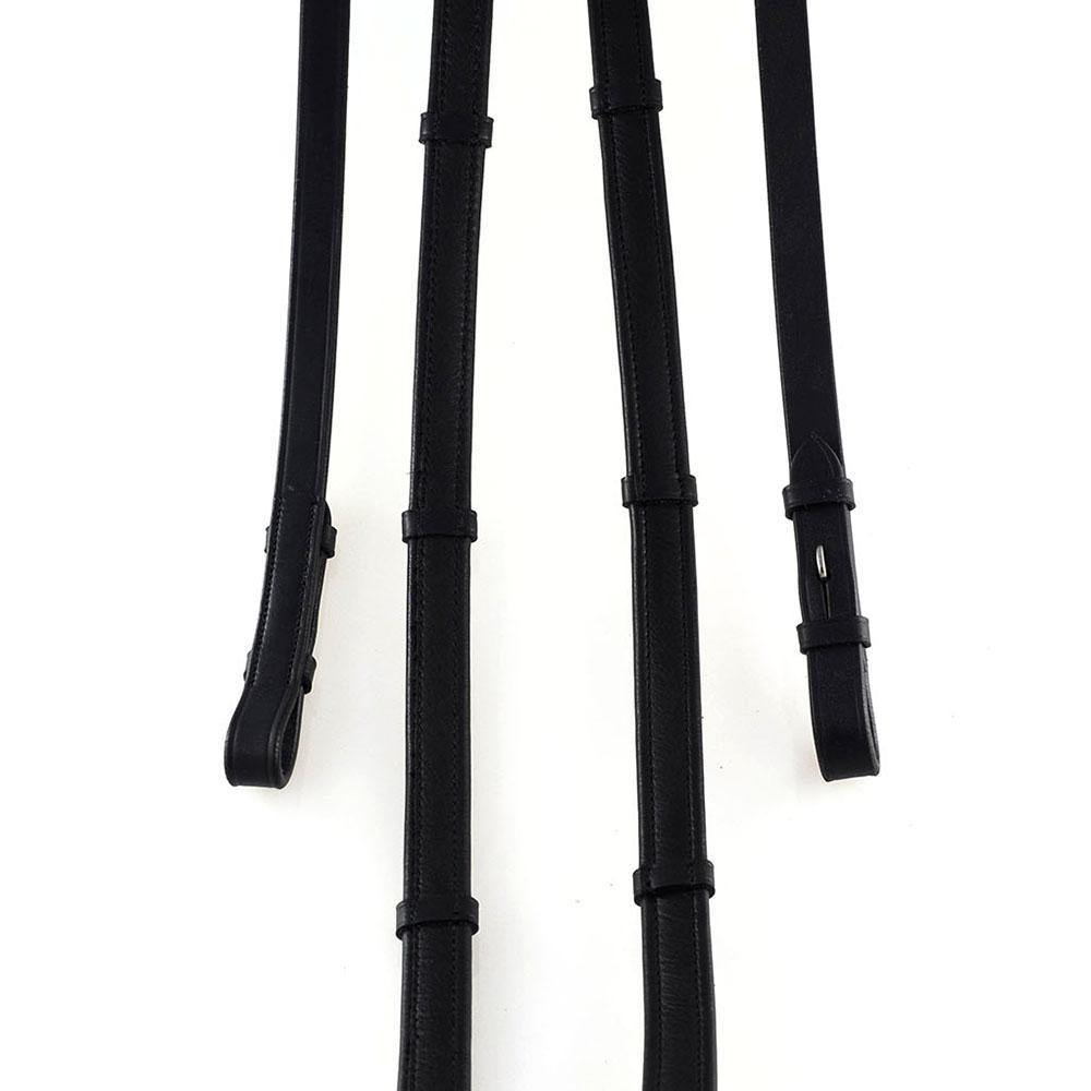 PADDED LEATHER SHOW REINS WITH CONTINENTAL STOPPERS BLACK REINS