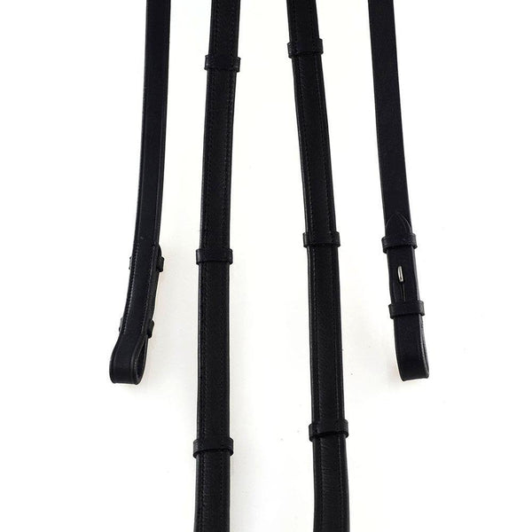 SHOW PADDED LEATHER WITH CONTINENTAL STOPPERS BLACK REINS