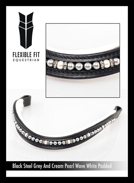 STEEL GREY AND CREAM PEARL  MID THIN WAVE WHITE PADDING - BLACK BROWBAND