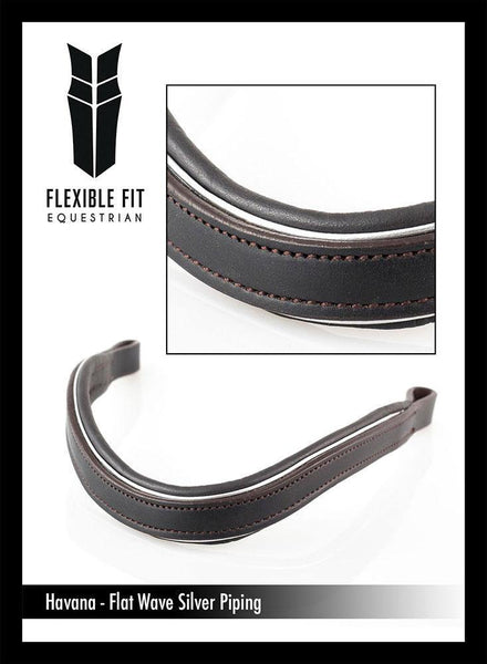 FLAT SILVER PIPE WAVE - HAVANA BROWBAND - Flexible Fit Equestrian Australia