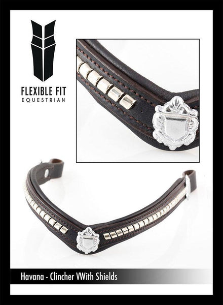 S/S CLINCHER V WITH SHIELDS - HAVANA BROWBAND - Flexible Fit Equestrian Australia