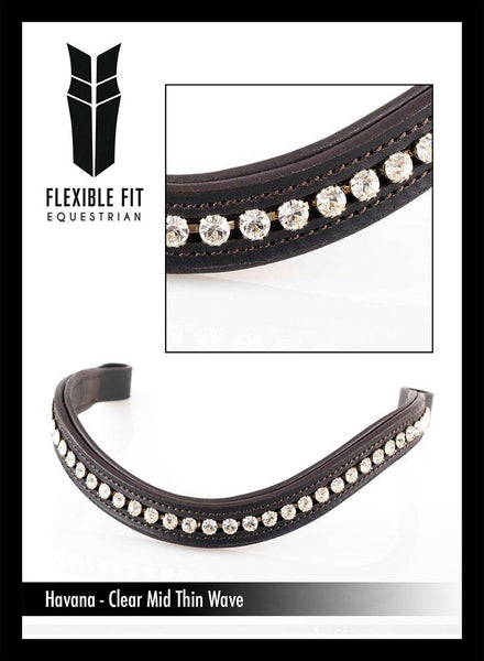 CLEAR CRYSTAL MID THIN WAVE - HAVANA BROWBAND - Flexible Fit Equestrian Australia