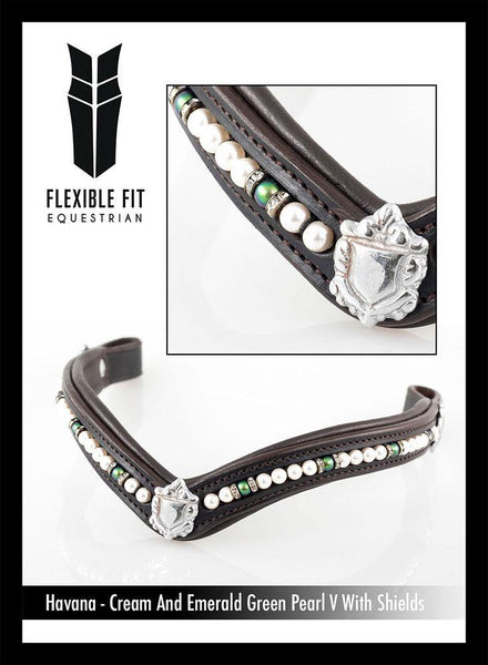 CREAM AND EMERALD PEARL V WITH SHIELDS - HAVANA BROWBAND