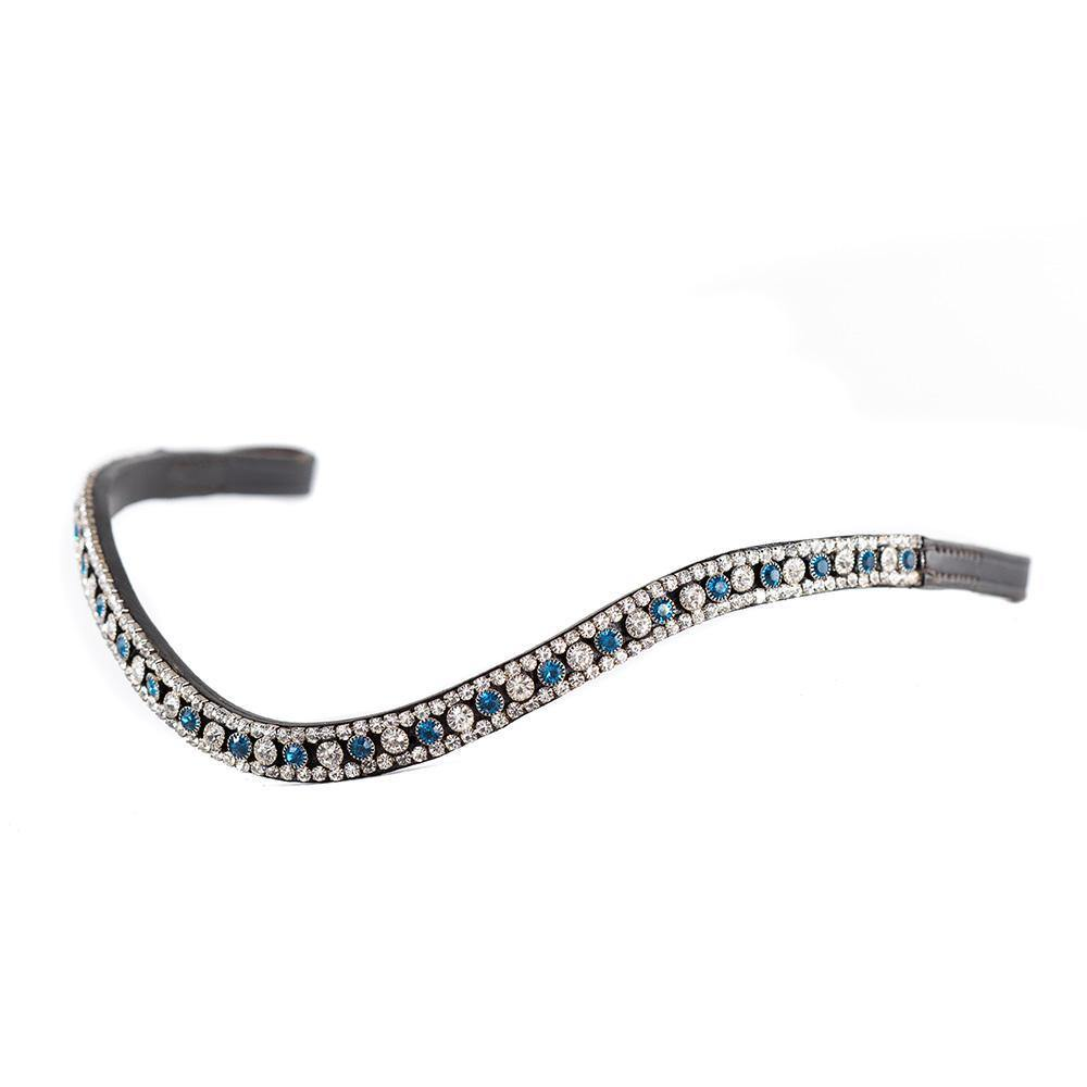 TURQUOISE AND CLEAR THIN CRYSTAL WAVE - HAVANA BROWBAND - Flexible Fit Equestrian Australia