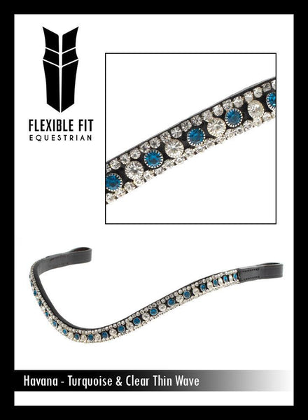 TURQUOISE AND CLEAR THIN CRYSTAL WAVE - HAVANA BROWBAND