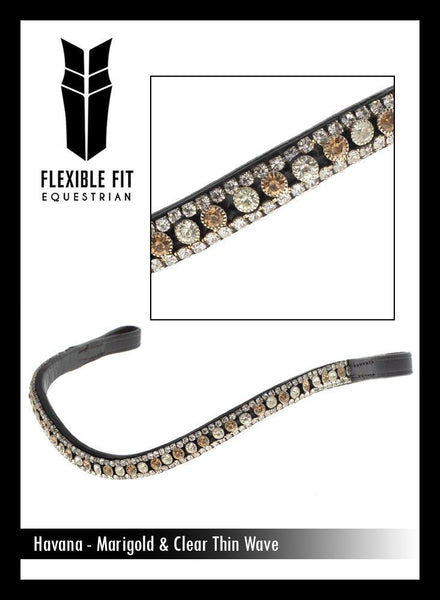 MARIGOLD AND CLEAR THIN CRYSTAL WAVE - HAVANA BROWBAND