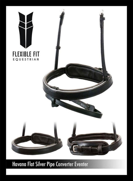 STRAIGHT FLAT SILVER PIPE EVENTER CONVERTER - HAVANA SNAFFLE/DOUBLE NOSEBAND - Flexible Fit Equestrian Australia