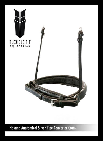 ANANTOMICAL RAISED PLAIN SILVER PIPE CONVERTER CRANK - HAVANA SNAFFLE/DOUBLE NOSEBAND - Flexible Fit Equestrian Australia