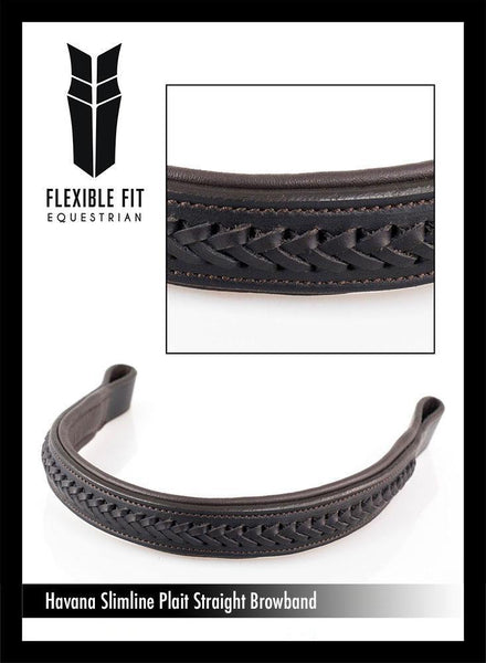 AMANDA PLAITED STRAIGHT - HAVANA BROWBAND - Flexible Fit Equestrian Australia