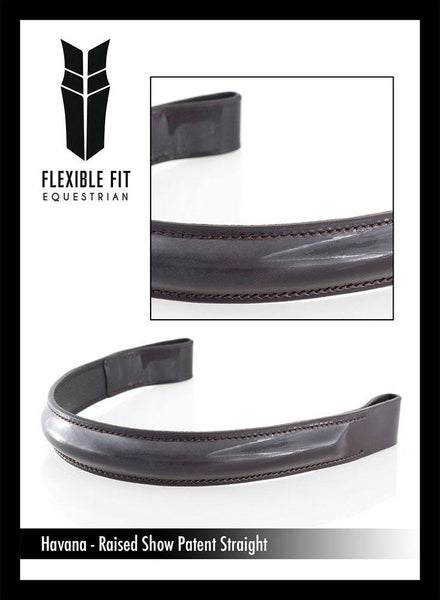 SHOW PATENT RAISED - HAVANA BROWBAND - Flexible Fit Equestrian Australia