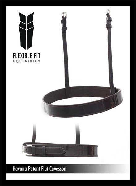 STRAIGHT FLAT PATENT SHOW CAVESSON - HAVANA NOSEBAND - Flexible Fit Equestrian Australia