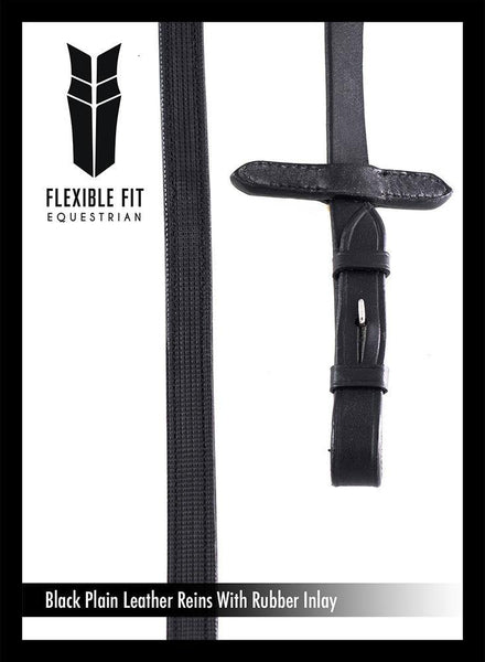 PLAIN LEATHER WITH RUBBER INSOLE BLACK REINS