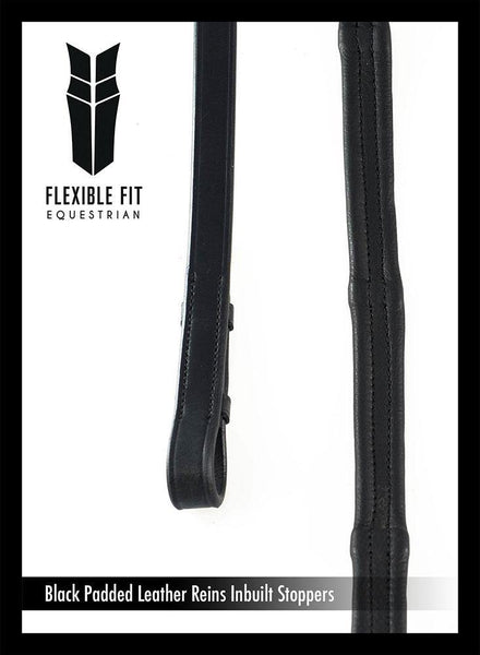 PADDED LEATHER 5/8 BILLETS BLACK REINS - Flexible Fit Equestrian Australia