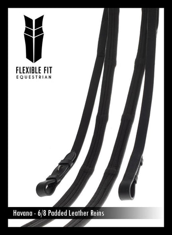 PADDED LEATHER 6/8 BILLETS HAVANA REINS