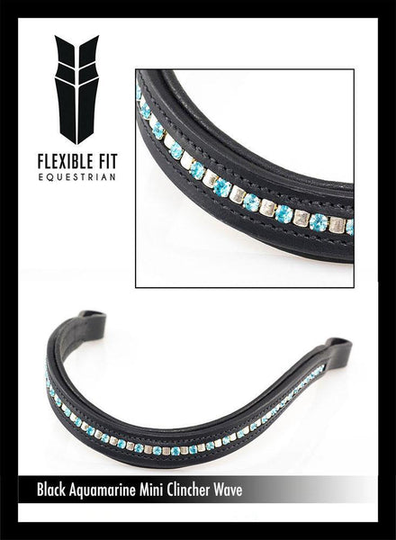 MINI CLINCHER AQUAMARINE CRYSTAL WAVE - BLACK BROWBAND - Flexible Fit Equestrian Australia