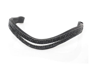 5 ROW SPLIT WAVE BLACK CRYSTAL - BLACK BROWBAND