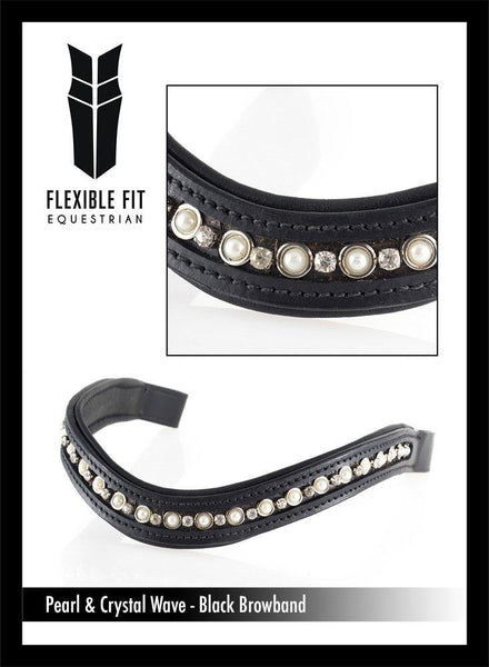 PEARL AND CRYSTAL WAVE - BLACK BROWBAND - Flexible Fit Equestrian Australia