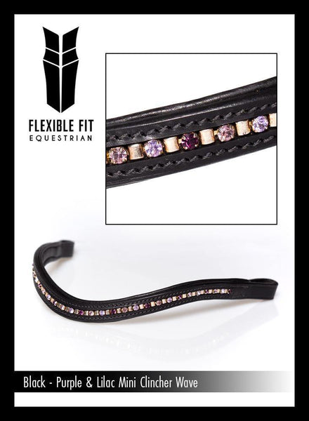 PURPLE AND LILAC MINI CLINCHER WAVE - BLACK BROWBAND - Flexible Fit Equestrian Australia
