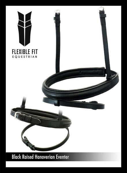 STRAIGHT RAISED PLAIN HANOVERIAN EVENTER - BLACK NOSEBAND - Flexible Fit Equestrian Australia