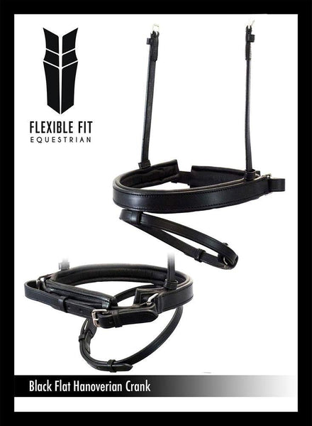 STRAIGHT FLAT PLAIN HANOVERIAN CRANK - BLACK NOSEBAND