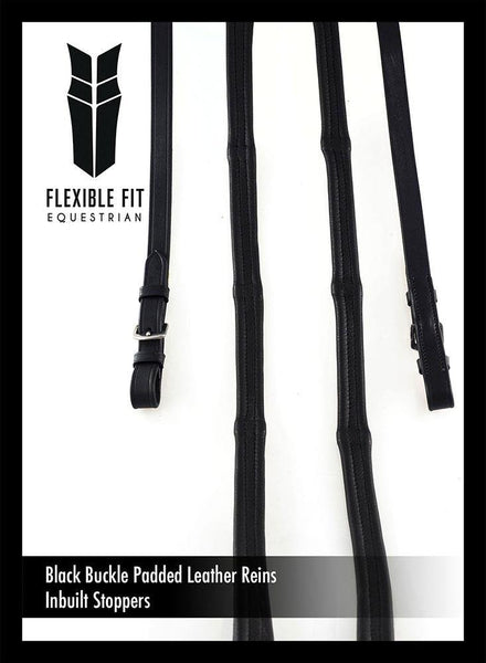PADDED LEATHER  5/8 BUCKLE SCHOOLING BLACK REINS - Flexible Fit Equestrian Australia