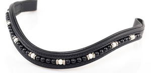 MYSTIC BLACK PEARL/CRYSTAL RONDEL MID THIN WAVE - BLACK BROWBAND