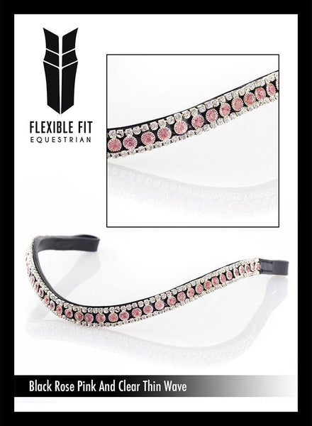 ROSE PINK AND CLEAR CRYSTAL THIN WAVE - BLACK BROWBAND
