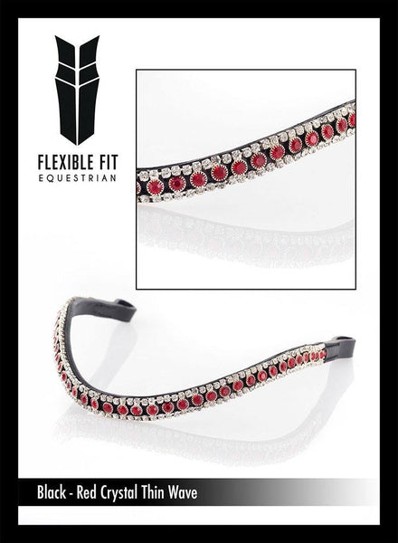 RED AND CLEAR THIN CRYSTAL WAVE - BLACK BROWBAND - Flexible Fit Equestrian Australia