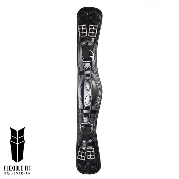 ANATOMICAL INBUILT ELASTIC DRESSAGE GIRTH - BLACK - Flexible Fit Equestrian Australia