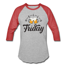 Load image into Gallery viewer, Hello Friday Baseball T-Shirt - heather gray/red
