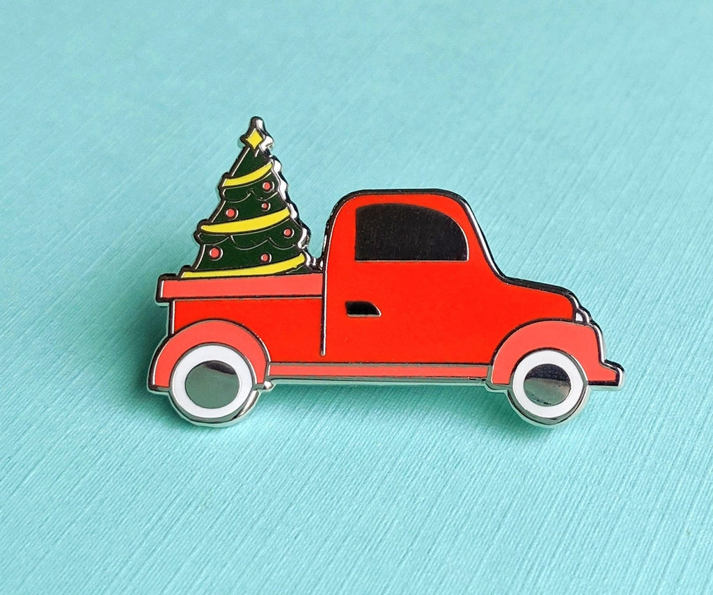 ENAMEL PIN, Christmas Farm Truck