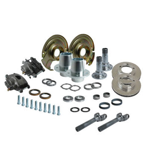 Solid Axle Dana 44 5 Lug Front End Kit Hubs, Bearings, Races, Spindles, Seals, Shafts, Calipers, Brake Brackets, Rotors