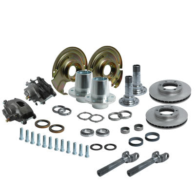 Solid Axle Dana 44 6 Lug Front End Kit Hubs, Bearings, Races, Spindles, Seals, Shafts, Calipers, Brake Brackets, Rotors
