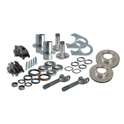 Solid Axle Gm Chevy Dodge Dana 60 5 Lug Front End Kit Hubs, Bearings, Races, Spindles, Seals, Shafts, Calipers, Brake Brackets, Rotors