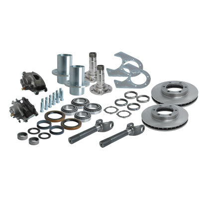 Solid Axle Gm Chevy Dodge Dana 60 6 Lug Front End Kit Hubs, Bearings, Races, Spindles, Seals, Shafts, Calipers, Brake Brackets, Rotors