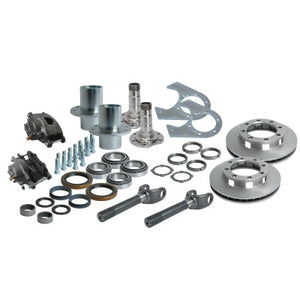 Solid Axle Gm Chevy Dodge Dana 60 8 Lug Front End Kit Hubs, Bearings, Races, Spindles, Seals, Shafts, Calipers, Brake Brackets, Rotors