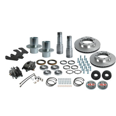 Solid Axle Full Float Dana 60 8 Lug Rear End Kit Hubs, Bearings, Races, Spindles, Seals, Calipers, Brake Brackets, Rotors