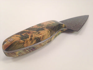 Knife (Alaskan Stabilized Box-Elder, Alabama Damascus Chef Blade) - No One Alike