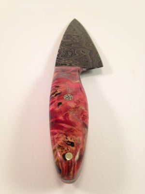 Red Sugar Maple Damascus Knife - No One Alike