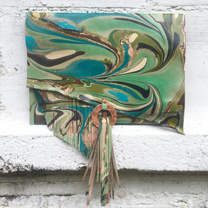 Green Copper Tassel Clutch - No One Alike