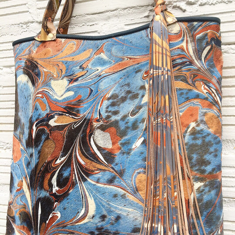 Copper & Blue Hair on Hide Large Tote