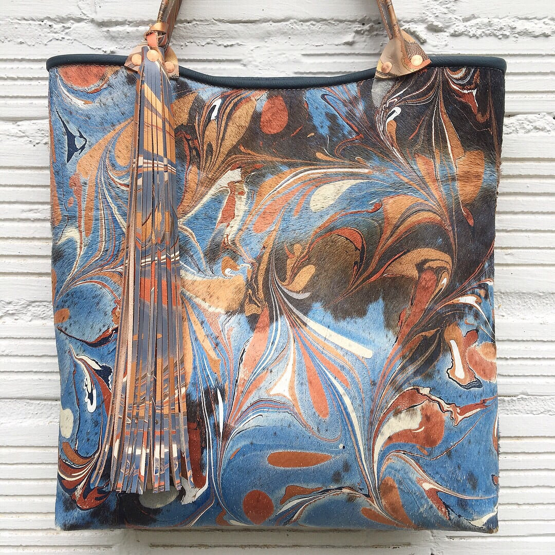 Copper & Blue Hair on Hide Large Tote - No One Alike
