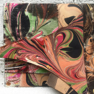 Mixed Media Clutch Peach & Green - No One Alike