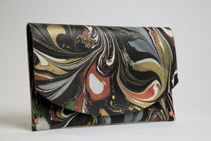 Hard Back Curved Clutch Metallic on Black - No One Alike