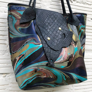 Teal Small Tote with Lizard Flap - No One Alike