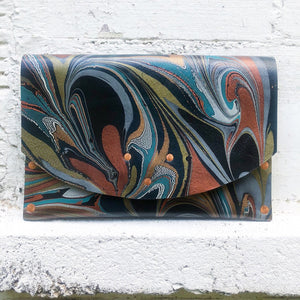 Hard Back Black Leather Copper Clutch - No One Alike