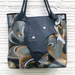 Gold & White Small Tote with Lizard Flap - No One Alike