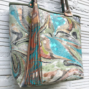 Hair on Hide Royal Teal Small Tote - No One Alike