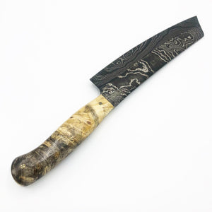Black Damascus Chef Knife Buck Eye Burl 003 - No One Alike