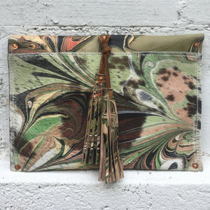 Layered Olive Tassel Clutch - No One Alike
